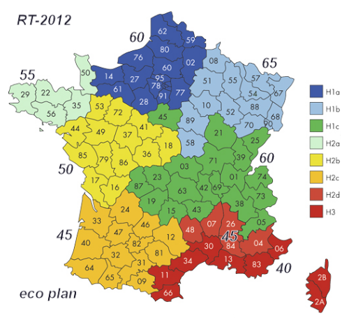 RT-2012 carte France des zones RT 2012