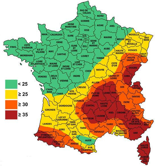 Carte niveau kéraunique France